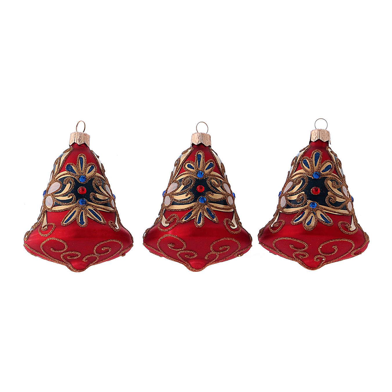 Caja 3 bolas Navidad vidrio soplado forma campana rojo azul 4