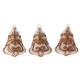 Tannenbaumkugeln: 3-er Set, Weihnachtsbaumkugeln aus mundgeblasenem Glas, Glockenform, Grundfarbe Weiß, mit goldenen Verzierungen