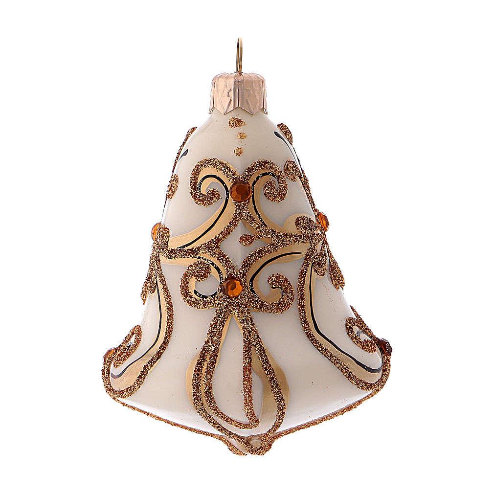 Caja 3 bolas Navidad vidrio soplado forma campana blanca oro 4