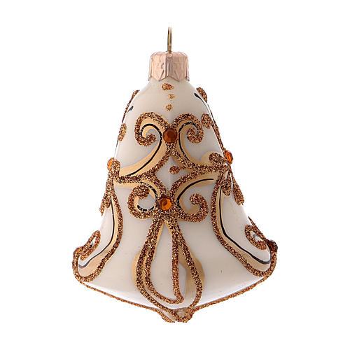Caja 3 bolas Navidad vidrio soplado forma campana blanca oro 3