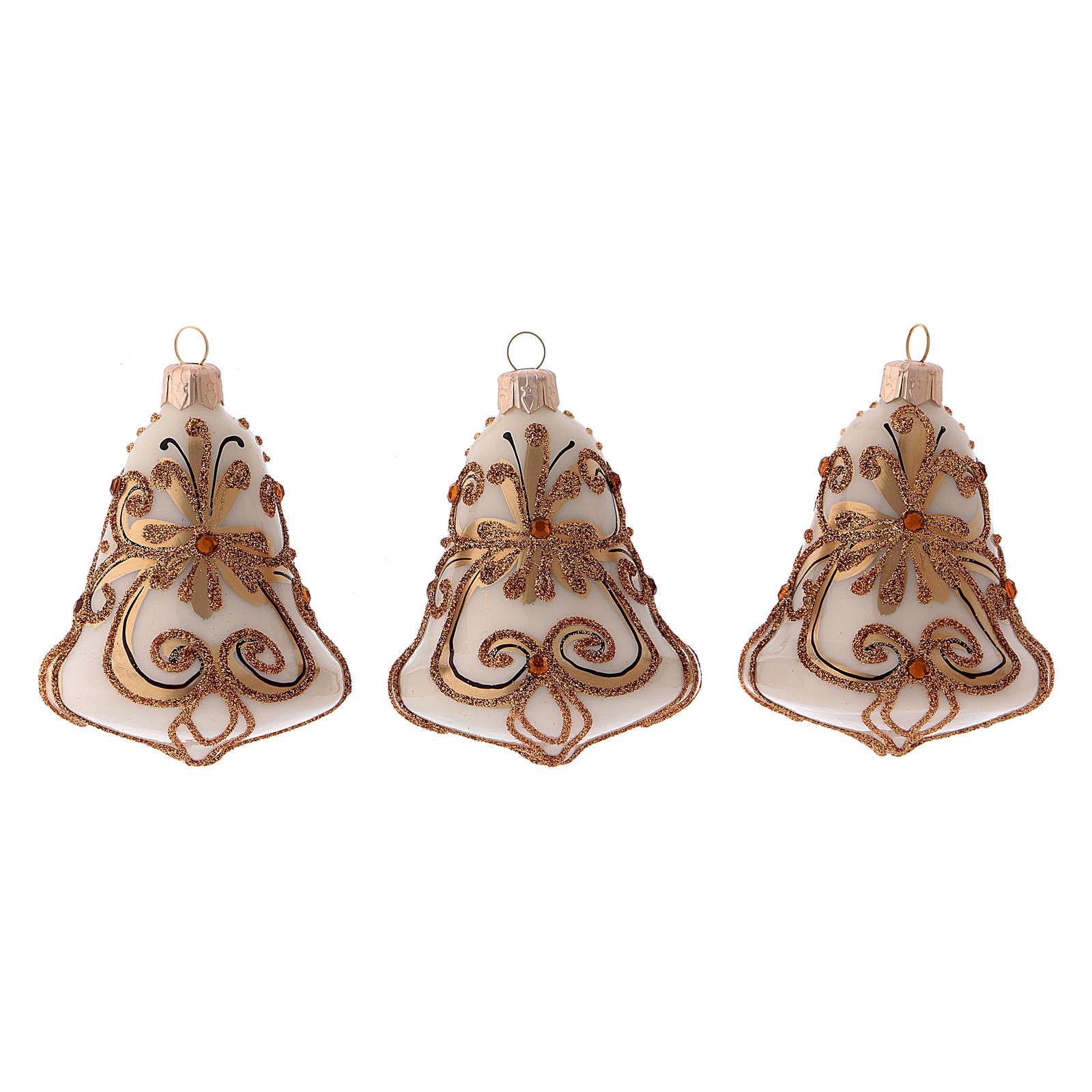 Boîte 3 boules de Noël en verre soufflé cloche blanche et or 4