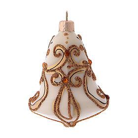 Scatola 3 palline Natale vetro soffiato forma campana bianca oro s3