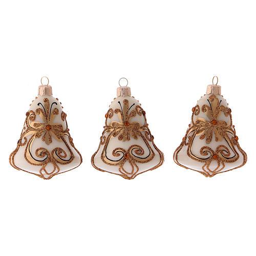 Scatola 3 palline Natale vetro soffiato forma campana bianca oro 1