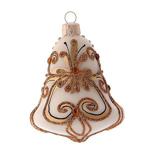 Scatola 3 palline Natale vetro soffiato forma campana bianca oro 2