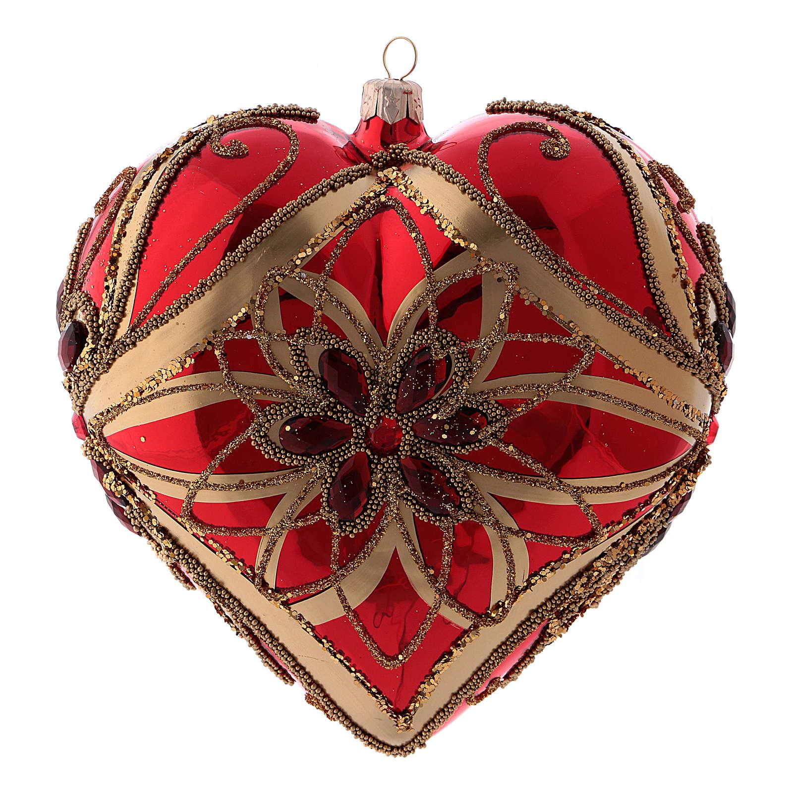 Bola de Navidad en forma de corazón roja de vidrio soplado 150 mm 4