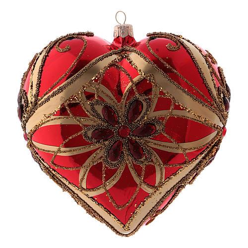 Bola de Navidad en forma de corazón roja de vidrio soplado 150 mm 3