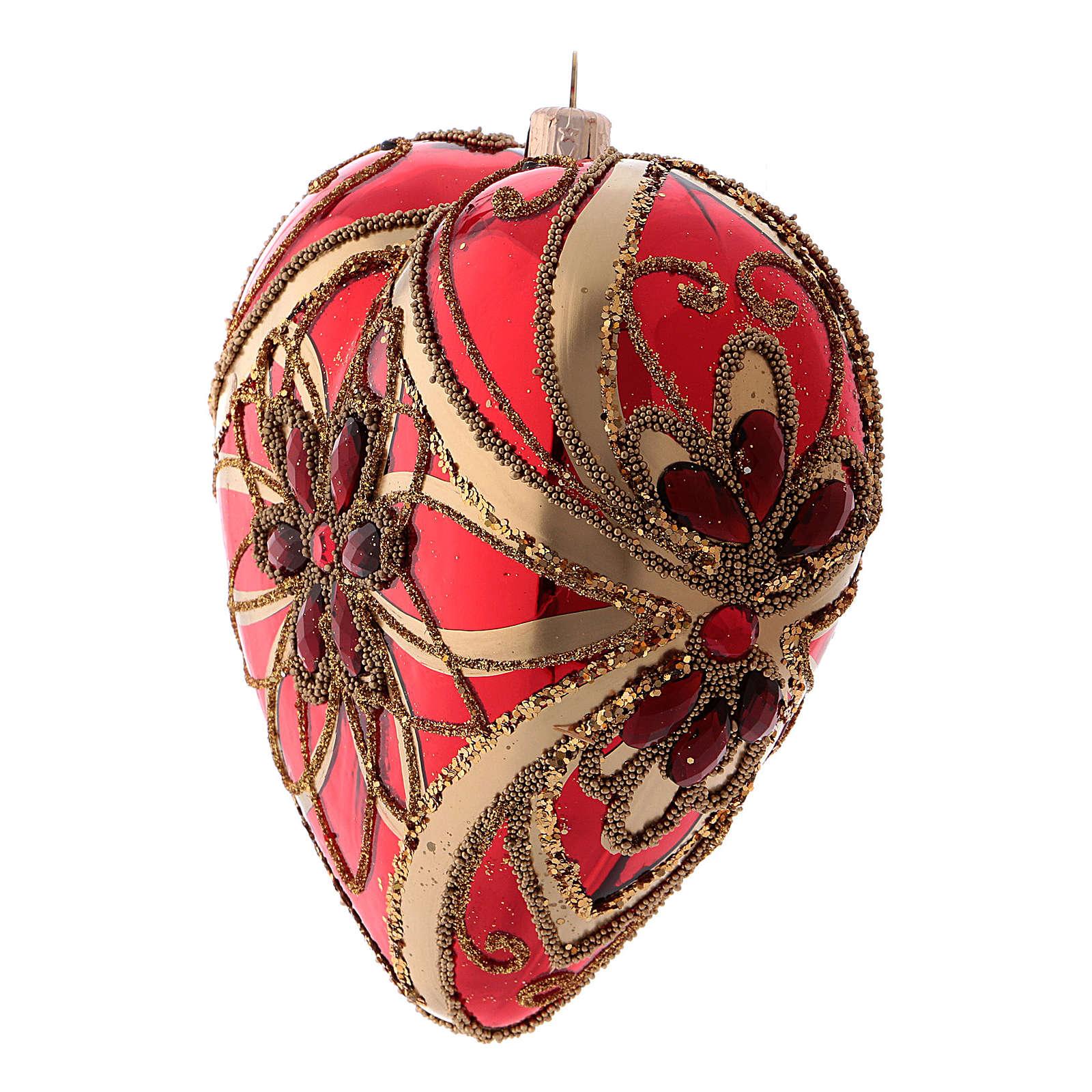 Pallina di Natale forma di cuore rossa in vetro soffiato 150 mm 4
