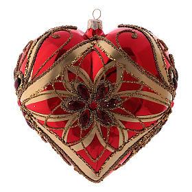 Pallina di Natale forma di cuore rossa in vetro soffiato 150 mm s1