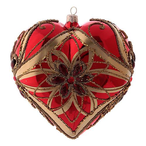 Pallina di Natale forma di cuore rossa in vetro soffiato 150 mm 1