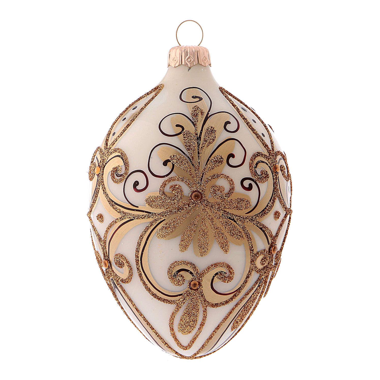 Pallina di Natale in forma ovale bianco e oro in vetro soffiato 4