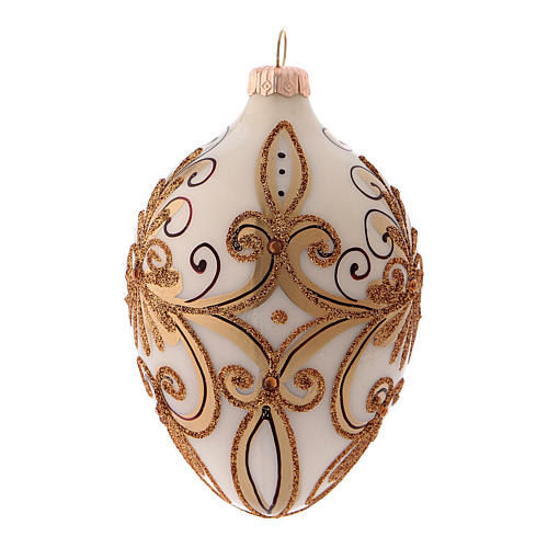 Pallina di Natale in forma ovale bianco e oro in vetro soffiato 2