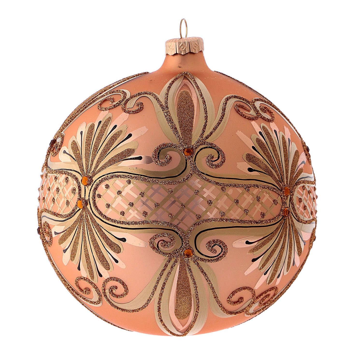 Pallina di Natale in vetro soffiato colore rosé 150 mm 4