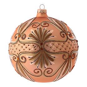 Pallina di Natale in vetro soffiato colore rosé 150 mm s1