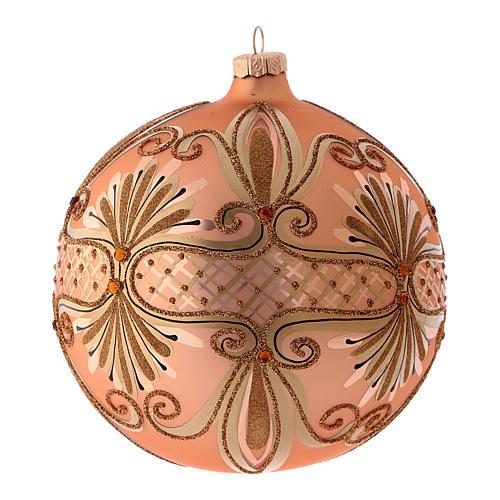 Pallina di Natale in vetro soffiato colore rosé 150 mm 2