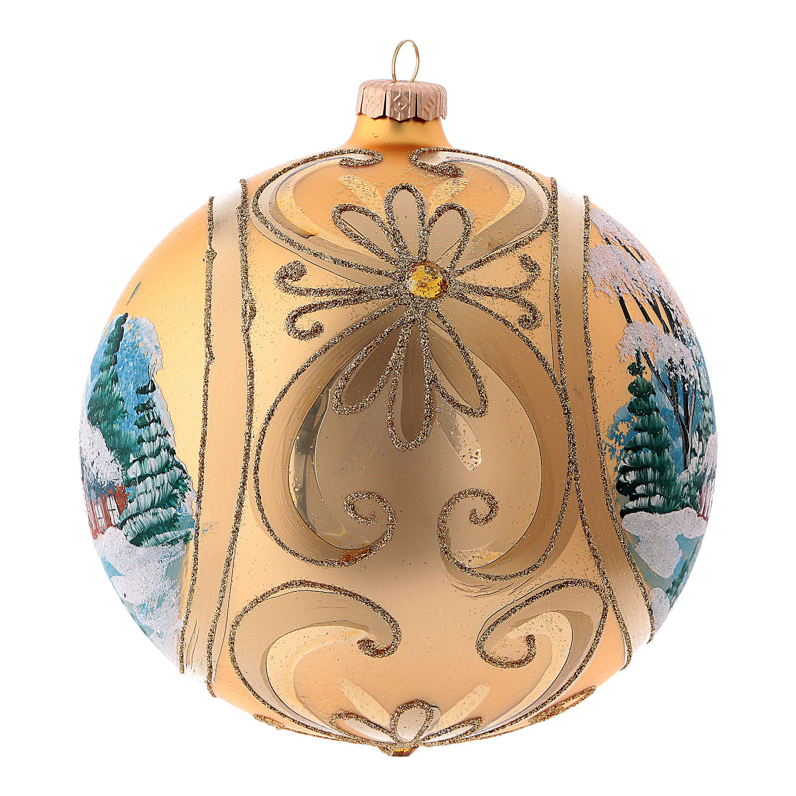 Boule de Noël en verre soufflé couleur or 150 mm 4