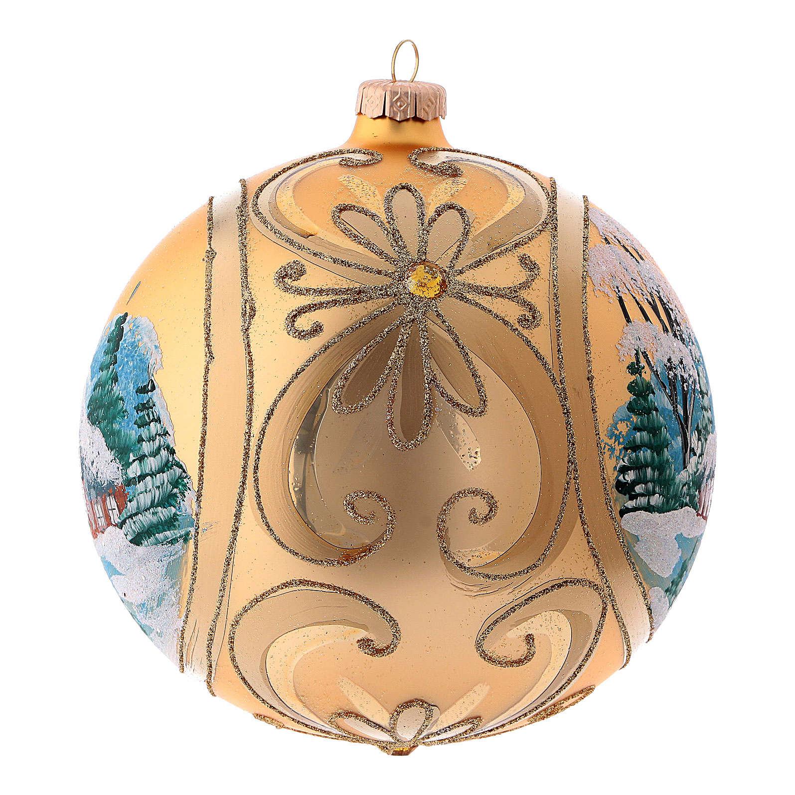 Pallina di Natale in vetro soffiato colore oro 150 mm 4