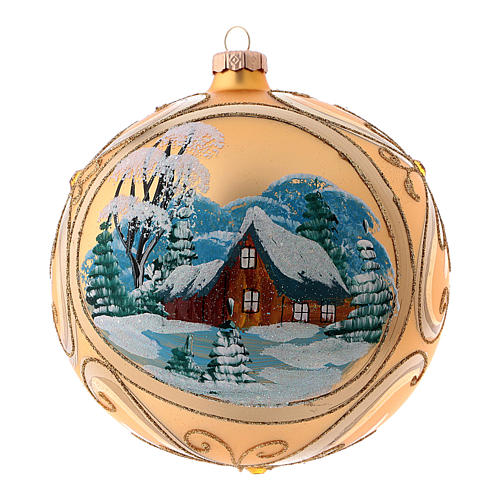 Gold Christmas ball in blown glass with landscape 15 cm 1