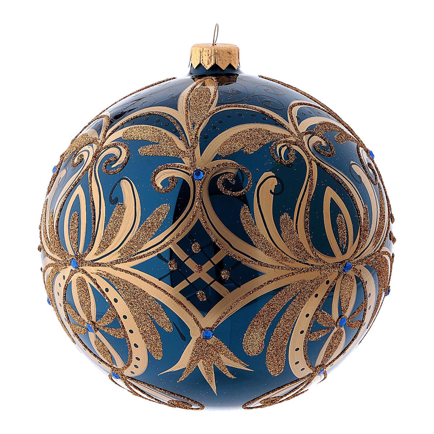 Pallina di Natale blu decori oro in vetro soffiato 150 mm 4