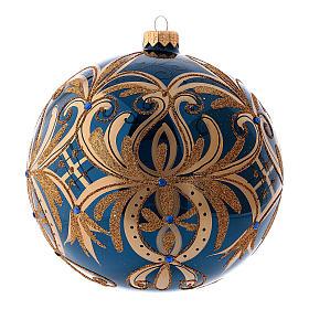 Pallina di Natale blu decori oro in vetro soffiato 150 mm s2