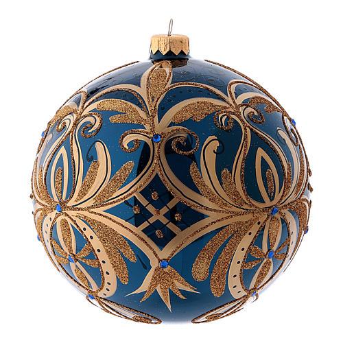 Pallina di Natale blu decori oro in vetro soffiato 150 mm 1