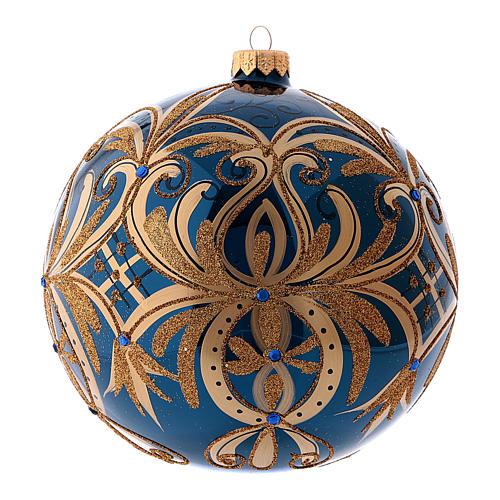 Pallina di Natale blu decori oro in vetro soffiato 150 mm 2