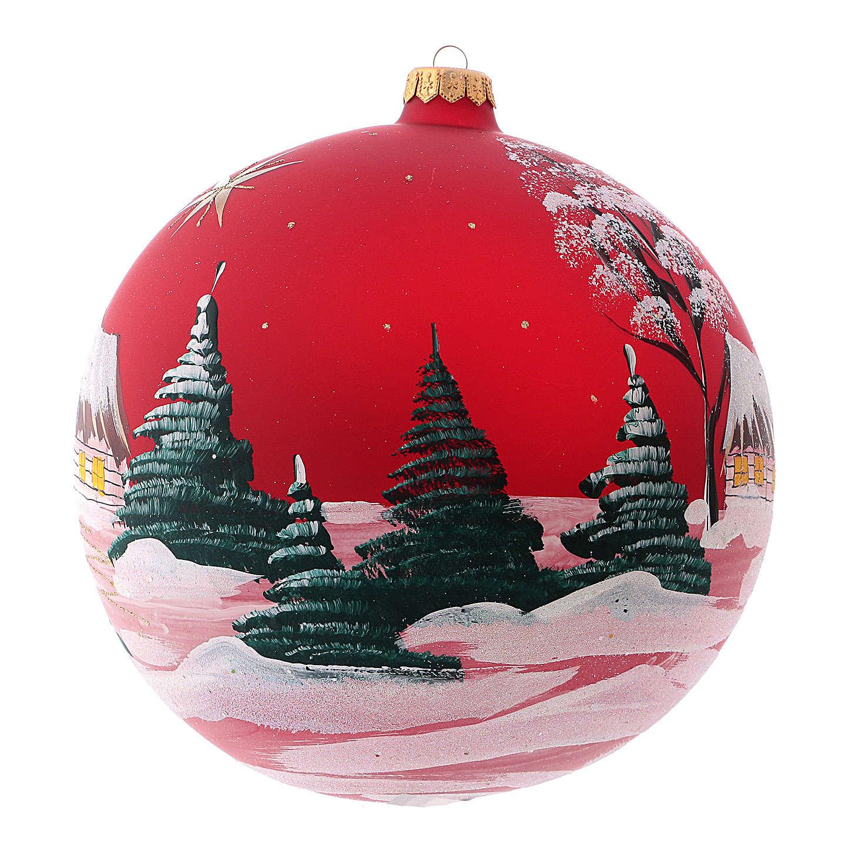 Pallina di Natale in vetro soffiato villaggio con cometa 200 mm 4