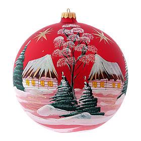 Pallina di Natale in vetro soffiato villaggio con cometa 200 mm s1
