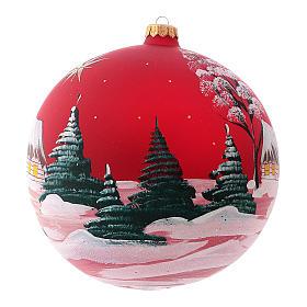 Pallina di Natale in vetro soffiato villaggio con cometa 200 mm s3