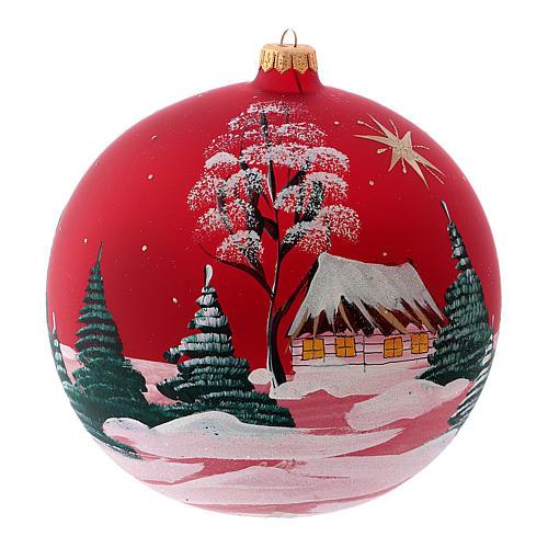 Pallina di Natale in vetro soffiato villaggio con cometa 200 mm 2