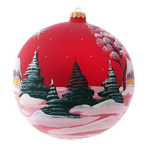 Pallina di Natale in vetro soffiato villaggio con cometa 200 mm 3