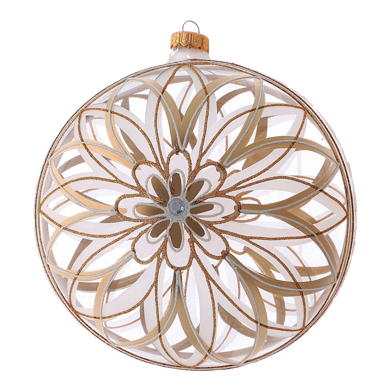 Pallina Natale vetro soffiato trasparente disegno floreale 200 mm 4