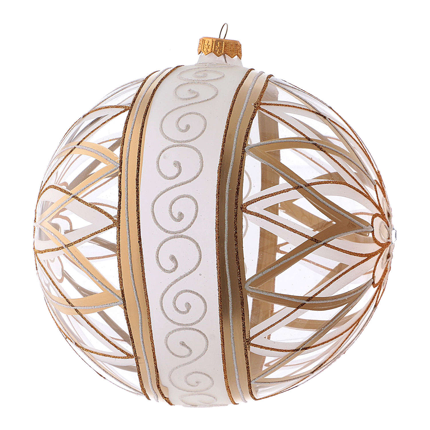 Transparent Christmas ball in blown glass with flower designs, 20 cm 4