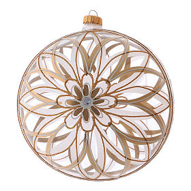 Transparent Christmas ball in blown glass with flower designs, 20 cm s1