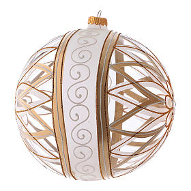 Transparent Christmas ball in blown glass with flower designs, 20 cm s2