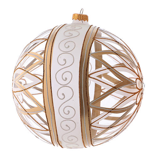 Transparent Christmas ball in blown glass with flower designs, 20 cm 2