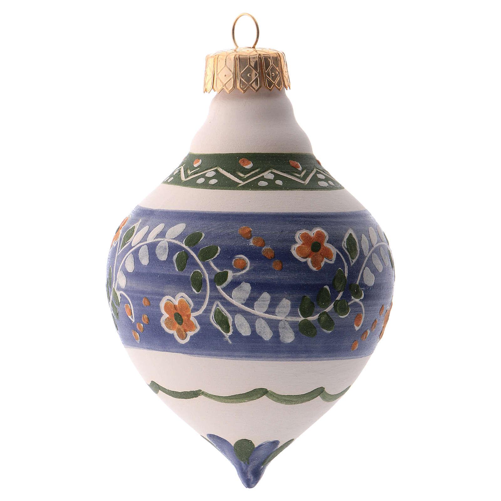 Bola para árbol Navidad azul 100 mm de cerámica Deruta 4