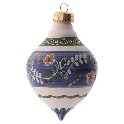 Bola para árbol Navidad azul 100 mm de cerámica Deruta 2
