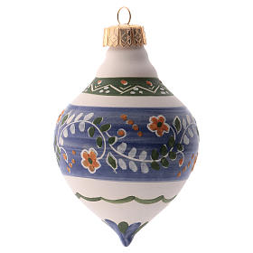 Pallina per albero Natale blu 100 mm in ceramica Deruta s1