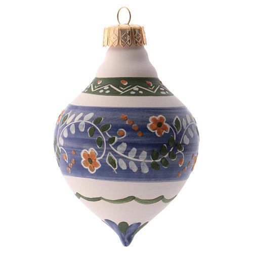 Pallina per albero Natale blu 100 mm in ceramica Deruta 1