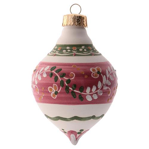 Bola para árbol Navidad rosa 100 mm de cerámica Deruta 2