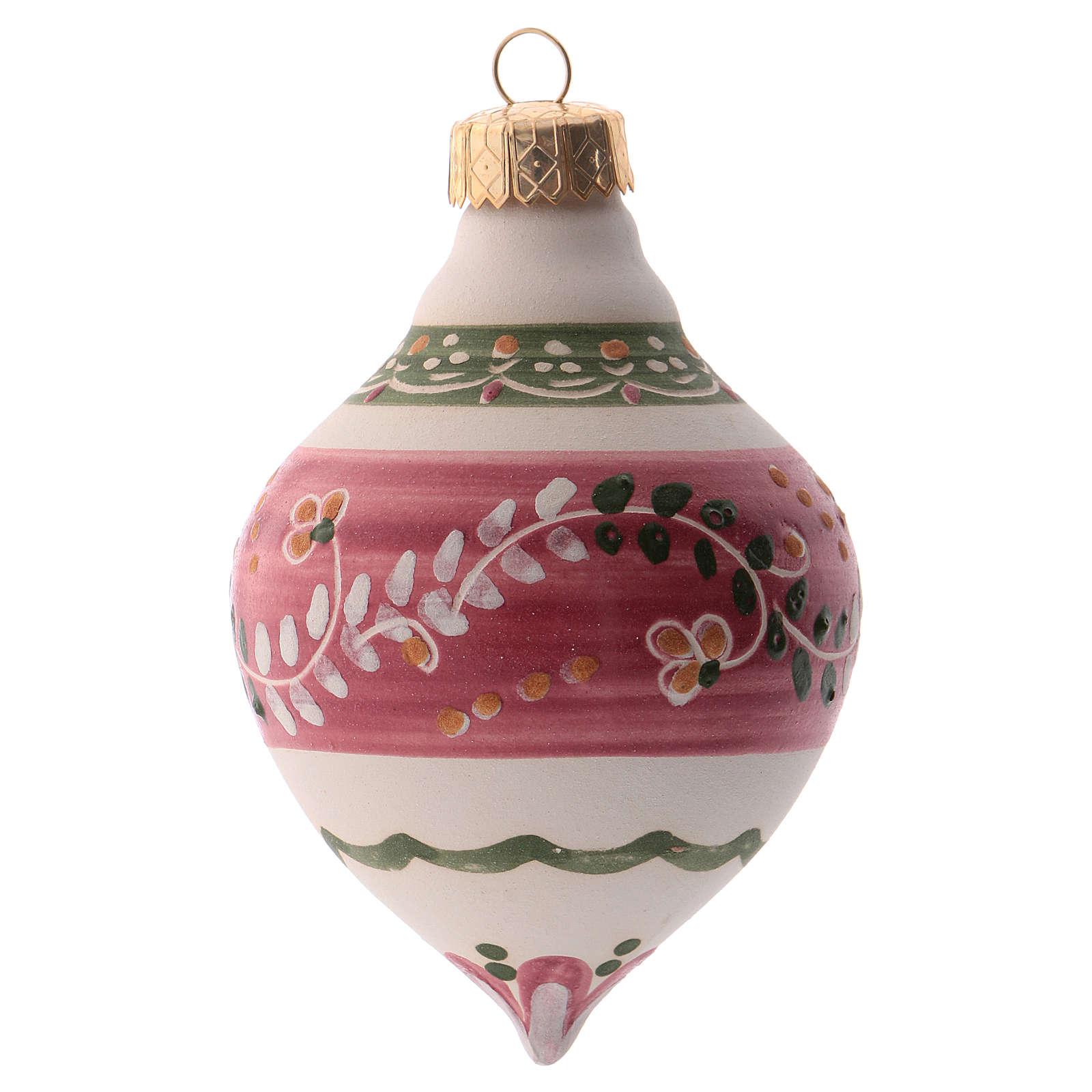 Pallina per albero Natale rosa 100 mm in ceramica Deruta 4