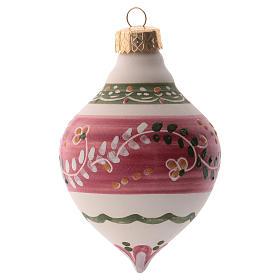 Pallina per albero Natale rosa 100 mm in ceramica Deruta s1