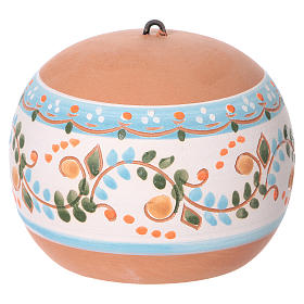 Bola cerámica coloreada Deruta estilo country abierta natividad motivos azules 100 mm s4