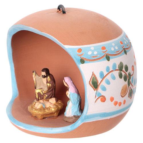 Bola cerámica coloreada Deruta estilo country abierta natividad motivos azules 100 mm 2