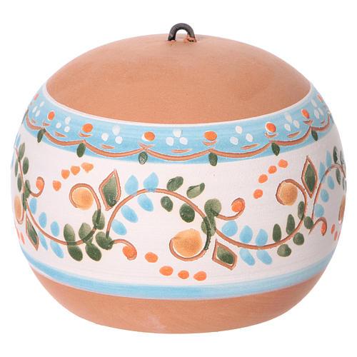 Bola cerámica coloreada Deruta estilo country abierta natividad motivos azules 100 mm 4