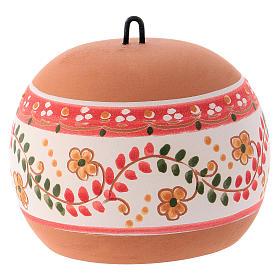 Bola cerámica coloreada Deruta estilo country abierta natividad motivos rojos 100 mm s3