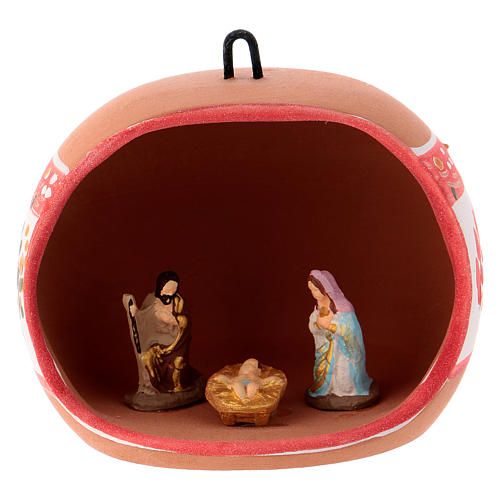 Bola cerámica coloreada Deruta estilo country abierta natividad motivos rojos 100 mm 1