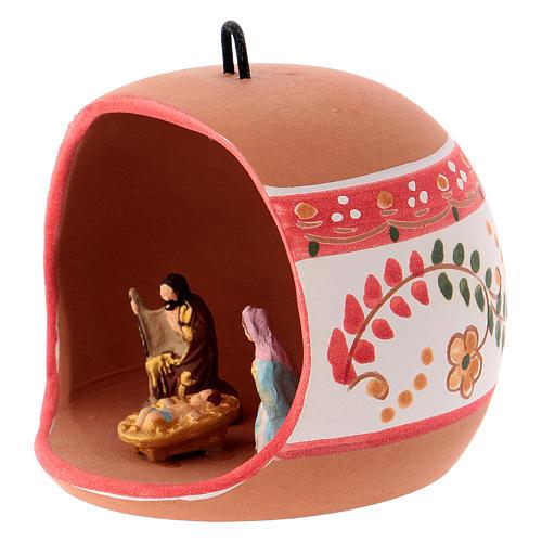 Bola cerámica coloreada Deruta estilo country abierta natividad motivos rojos 100 mm 2