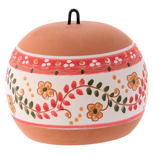 Bola cerámica coloreada Deruta estilo country abierta natividad motivos rojos 100 mm 3