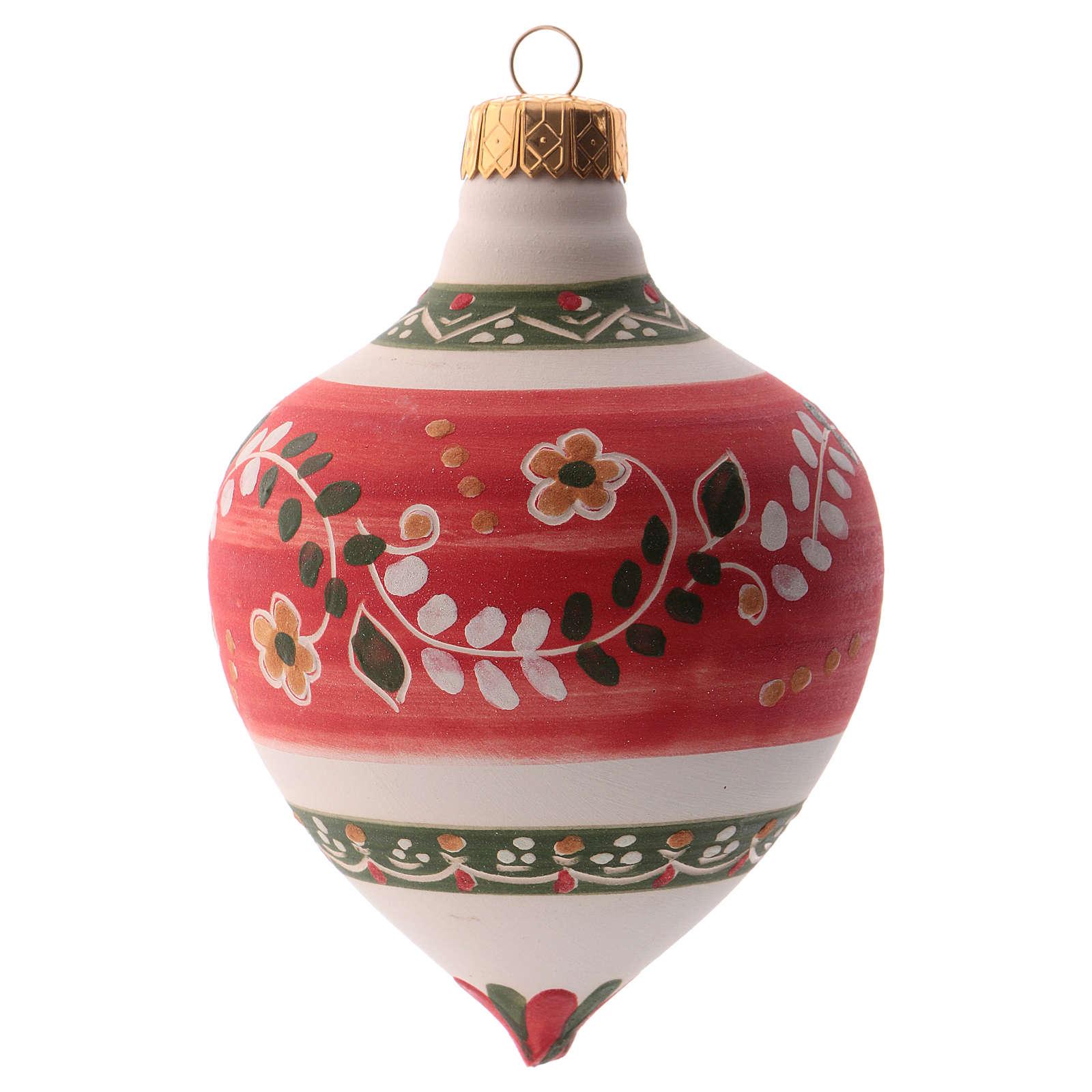 Bola para árbol Navidad roja con punta 100 mm de cerámica Deruta 4